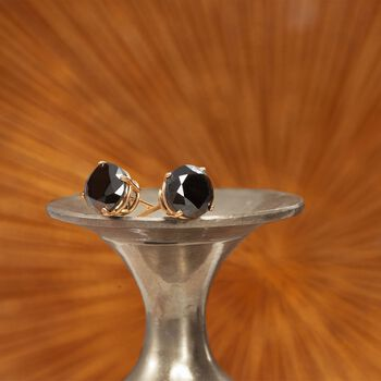 3.00 ct. t.w. Black Diamond Stud Earrings in 14kt Yellow Gold, , default