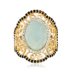 Green Chalcedony Scrolled Ring With Black Spinel and White Topaz in 18kt Gold Over Sterling , , default