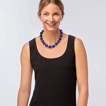 """C. 1970 Vintage Lapis Bead Necklace in 18kt Yellow Gold. 18.5"""""""