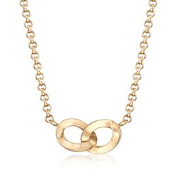 Italian 18kt Yellow Gold Interlocking Oval Necklace, , default
