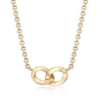 Italian 18kt Yellow Gold Interlocking Oval Necklace, , default