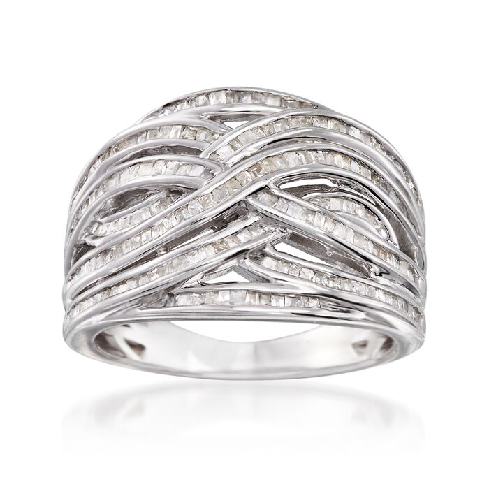 1.00 ct. t.w. Baguette Diamond Highway Ring in Sterling Silver, , default