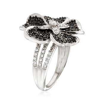 1.00 ct. t.w. Black and White Diamond Flower Ring in Sterling Silver, , default