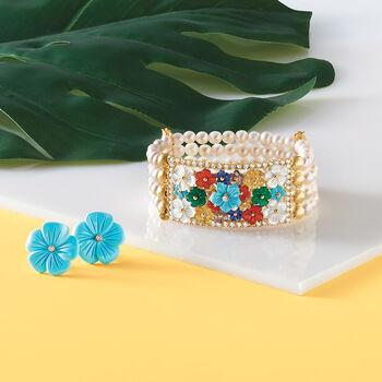 5.5-6mm Cultured Pearl, Mother-Of-Pearl and Multi-Gem Floral Stretch Bracelet in 18kt Gold Over Sterling, , default