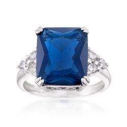 Simulated Sapphire and .50 ct. t.w. CZ Ring in Sterling Silver, , default