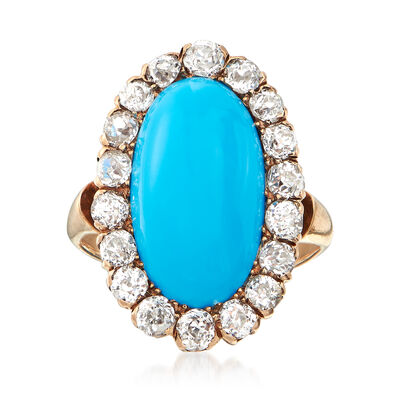 C. 1920 Vintage Aqua Turquoise and 1.10 ct. t.w. Diamond Halo Ring in 14kt Yellow Gold