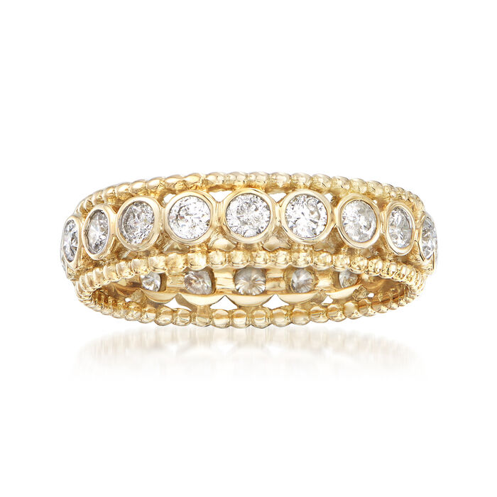 1.00 ct. t.w. Bezel-Set Diamond Eternity Ring in 14kt Yellow Gold, , default