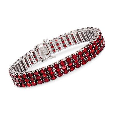 25.00 ct. t.w. Garnet Three-Row Tennis Bracelet in Sterling Silver, , default