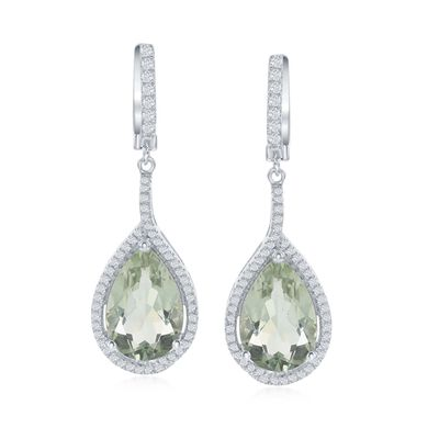 11.00 ct. t.w. Green Prasiolite  and .80 ct. t.w. White Topaz Drop Earrings in Sterling Silver