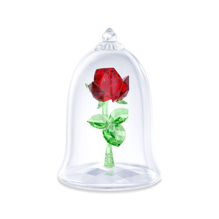 "Swarovski Crystal ""Disney's Enchanted Rose"" Red and Green Crystal Figurine"