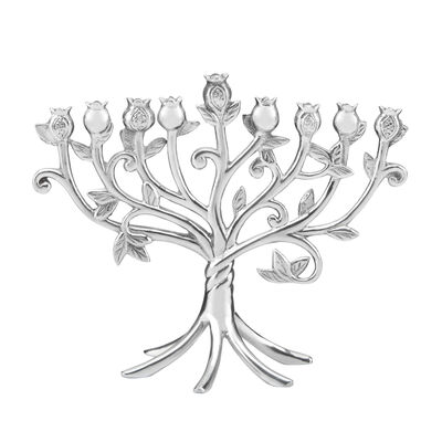 "Lenox ""Judaic Blessings"" Metal Floral Menorah, , default"