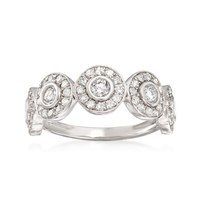 1.00 ct. t.w. Diamond Cluster Circles Ring in 14kt White Gold, , default