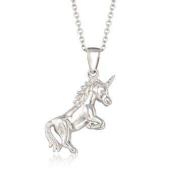 "Sterling Silver Unicorn Pendant Necklace. 18"", , default"
