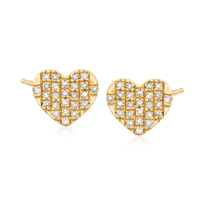 .10 ct. t.w. Pave Diamond Heart Stud Earrings in 14kt Yellow Gold, , default