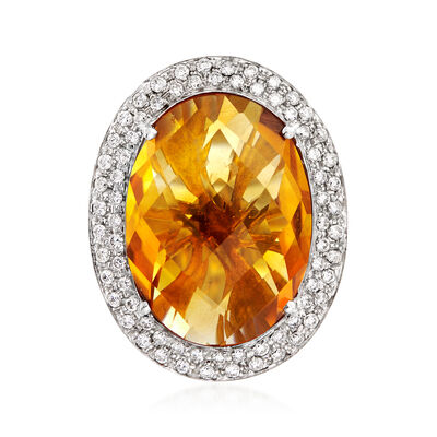 C. 1990 Vintage 12.00 Carat Citrine and .60 ct. t.w. Pave Diamond Ring in 18kt White Gold, , default