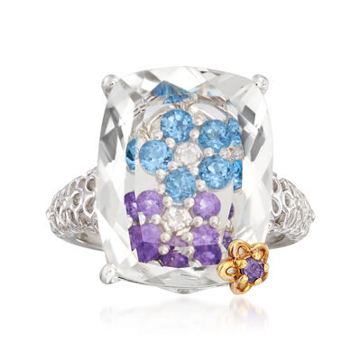 Rock Crystal and .83 ct. t.w. Multi-Gemstone Flower Ring in Sterling Silver with 18kt Gold Over Sterling Accents