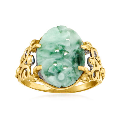 C. 1950 Vintage Nephrite Ring in 14kt Yellow Gold