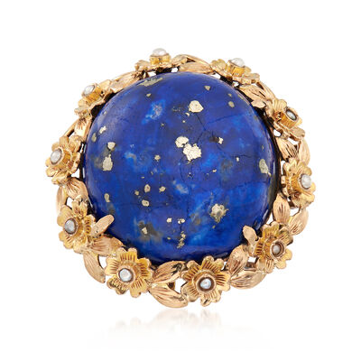C. 1940 Vintage Lapis and Cultured Pearl Ring in 14kt Yellow Gold, , default