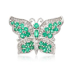 1.60 ct. t.w. Emerald and .50 ct. t.w. White Zircon Butterfly Ring in Sterling Silver, , default