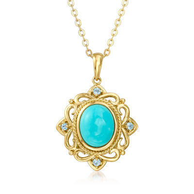 Turquoise and .10 ct. t.w. Sky Blue Topaz Pendant Necklace in 18kt Gold Over Sterling