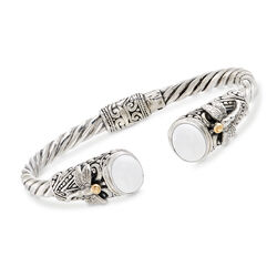 White Agate Two-Tone Sterling Silver Dragonfly Cuff Bracelet, , default