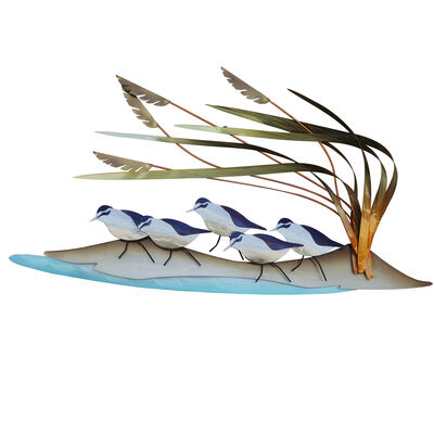 Copper Art Stainless Steel Abstract Beach Patrol Sandpipers Wall Art, , default