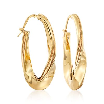 Italian 18kt Yellow Gold Twisted Oval Hoop Earrings, , default