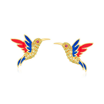 .80 ct. t.w. Peridot Hummingbird Earrings with Rhodolite Garnet Accents and Enamel in 18kt Gold Over Sterling Silver