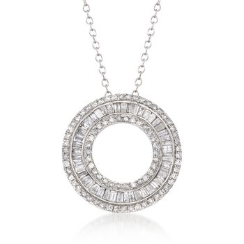 "1.00 ct. t.w. Diamond Open Eternity Circle Pendant Necklace in 14kt White Gold. 16"", , default"
