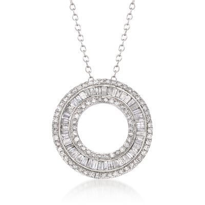 1.00 ct. t.w. Diamond Open Eternity Circle Pendant Necklace in 14kt White Gold, , default