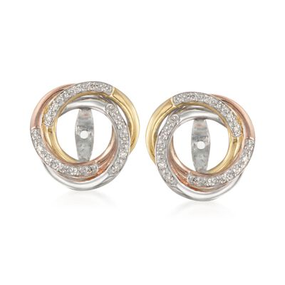 .10 ct. t.w. Diamond Swirl Earring Jackets in Tri-Colored Sterling Silver
