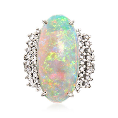 C. 1980 Vintage Opal and .67 ct. t.w. Diamond Ring