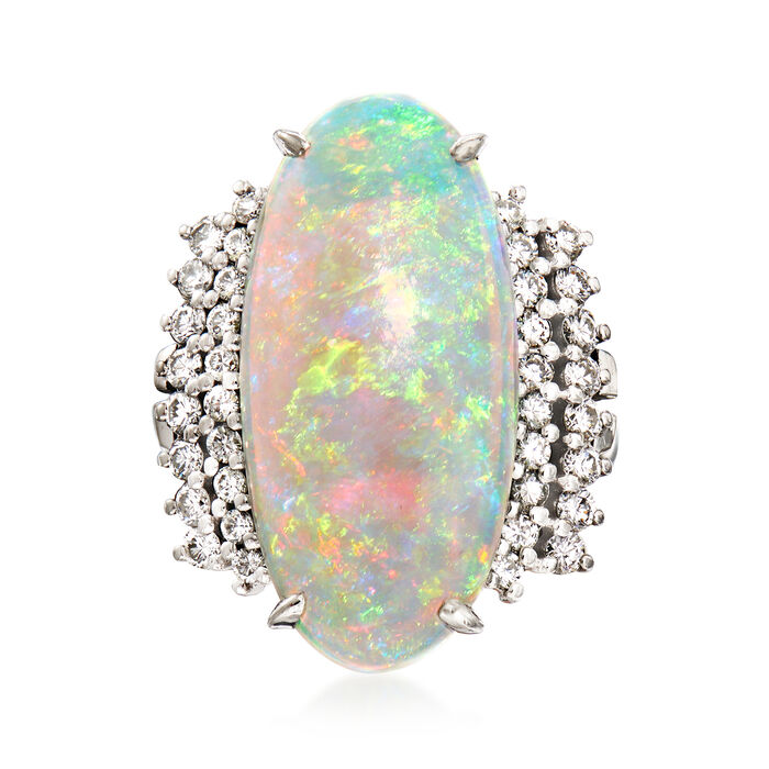 C. 1980 Vintage Opal and .67 ct. t.w. Diamond Ring. Size 6.25, , default