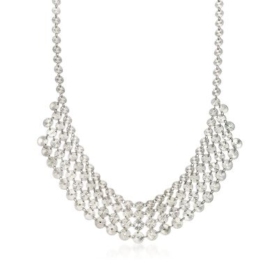 Italian Sterling Silver Diamond-Cut Tribal Bib Necklace, , default