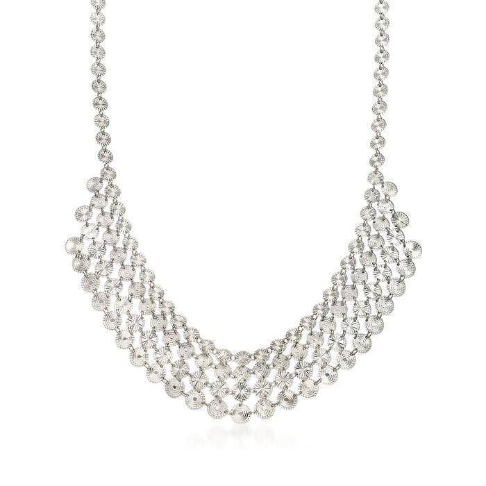 "Italian Sterling Silver Diamond-Cut Tribal Bib Necklace. 17.25"""