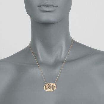 24kt Gold Over Sterling Silver Cutout Monogram Oval Necklace, , default