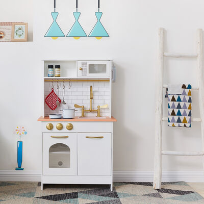 Child's Little Chef Boston Wood Modern Play Kitchen in White, , default