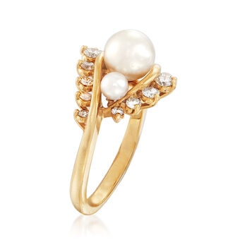 C. 1980 Vintage 3.5-6.5mm Cultured Pearl and .45 ct. t.w. Diamond Ring in 18kt Yellow Gold. Size 5, , default