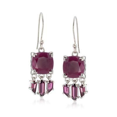 11.00 ct. t.w. Ruby and 2.00 ct. t.w. Rhodolite Garnet Drop Earrings in Sterling Silver, , default
