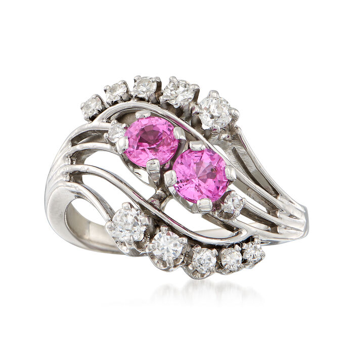 C. 1960 Vintage .80 ct. t.w. Pink Sapphire and .36 ct. t.w. Diamond Ring in 18kt White Gold. Size 6, , default