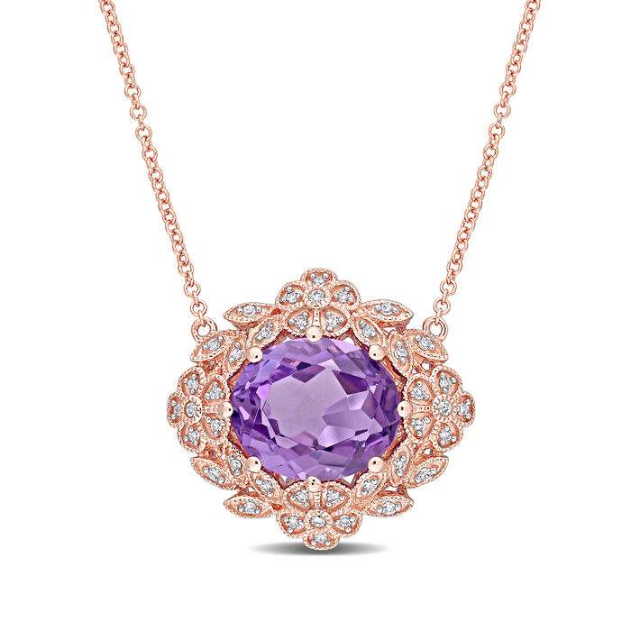 4.00 Carat Amethyst and .19 ct. t.w. Diamond Floral Necklace in 14kt Rose Gold