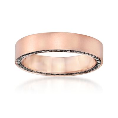 Henri Daussi Men's 5mm 14kt Rose Gold Wedding Ring with .80 ct. t.w. Black Diamonds, , default