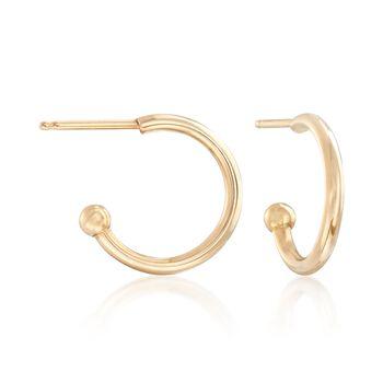 Floating Opal Hoop Drop Earrings in 14kt Yellow Gold, , default