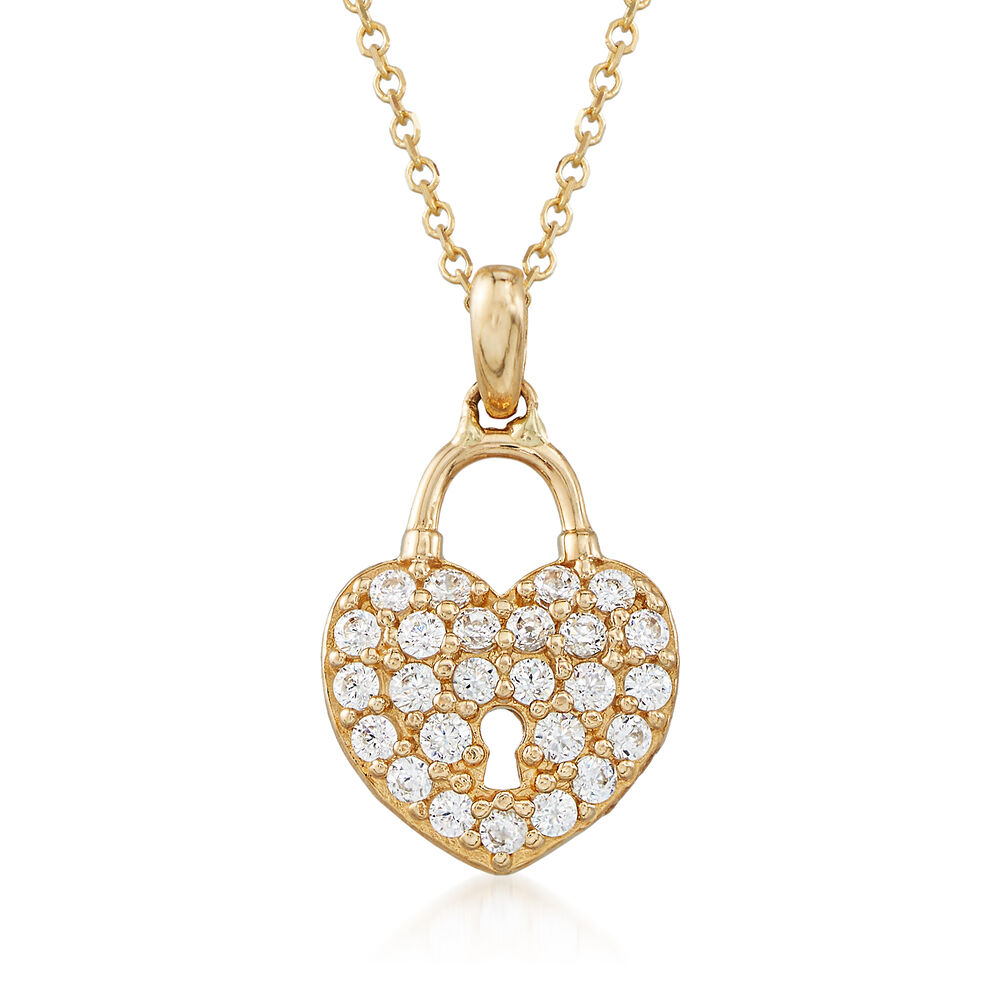 20 ct tw cz heart lock pendant necklace in 14kt yellow gold 18 tw cz heart lock pendant necklace in 14kt yellow gold 18quot aloadofball Images