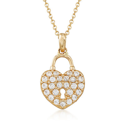 .20 ct. t.w. CZ Heart Lock Pendant Necklace in 14kt Yellow Gold, , default