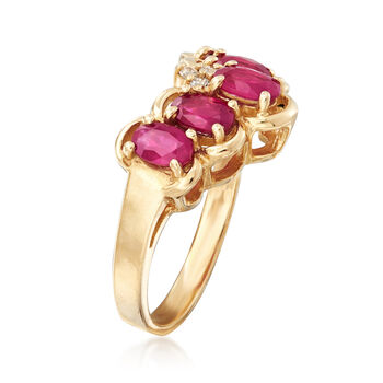 C. 1990 Vintage 1.5 ct. t.w. Ruby Ring with Diamond Accents in 14kt Yellow Gold. Size 5, , default