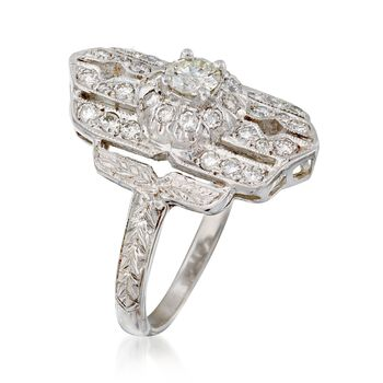 C. 1980 Vintage .65 ct. t.w. Diamond Dinner Ring in 18kt White Gold. Size 6.5, , default