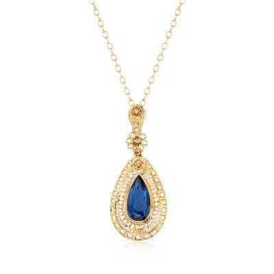 C. 1990 Vintage 1.35 Carat London Blue Topaz Pendant Necklace in 10kt Yellow Gold