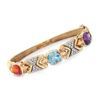 "C. 1970 Vintage 10.70 ct. t.w. Multi-Stone Bangle Bracelet in 14kt Yellow Gold. 7"", , default"