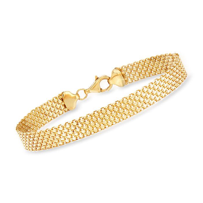 18kt Yellow Gold Over Sterling Silver Bismark-Link Bracelet, , default